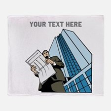 City Worker Man. Your Text. Throw Blanket