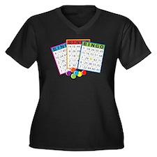 Bingo Cards Women's Plus Size V-Neck Dark T-Shirt