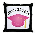 Class of 2024 (Pink) Throw Pillow