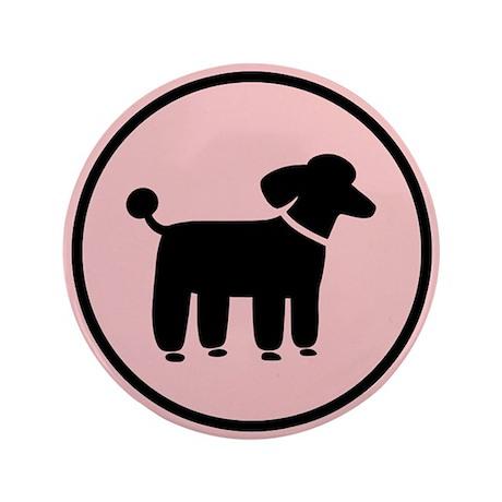 """Black Poodle 3.5"""" Button (100 pack)"""