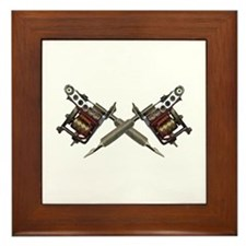 Twin Tattoo Needles Framed Tile