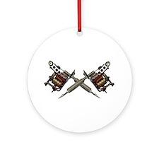 Twin Tattoo Needles Ornament (Round)