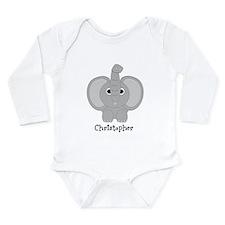 Personalized Elephant Design Long Sleeve Infant Bo