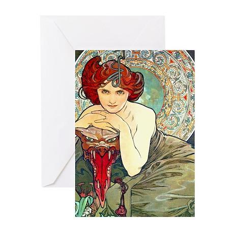 Mucha Emerald Greeting Cards (Pk of 10)
