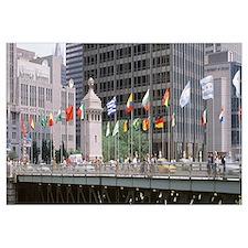 Flags on a bridge, Michigan Ave Bridge, Chicago, I