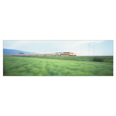 TGV High-speed Train passing through a grassland Canvas Art