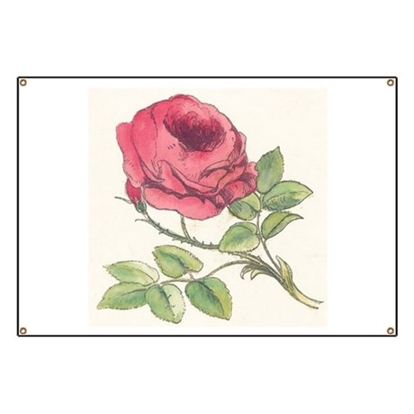 Vintage Rose Drawing Banner
