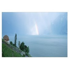 Rainbow vineyards and Lake Geneva Vaud Switzerland