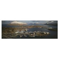 Aerial view of fishing industry, Unisea Port Compl Poster