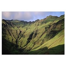 Iceland, Skogar, High angle view of a valley