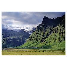 Iceland, South Coast, Sheer Basalt Cliffs, View of