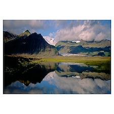 Iceland, Skaftafell National Park, Reflection of m