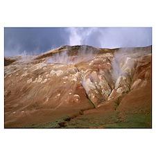 Iceland, Lehmjukur Thermal Area, Steam erupting fr