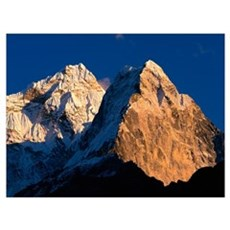 Nepal, Ama Dablam, Sunlight over the mountain peak Poster
