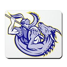 Knight fighting dragon Mousepad