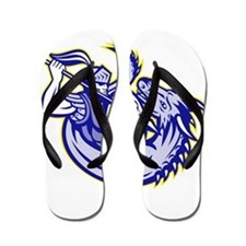 Knight fighting dragon Flip Flops
