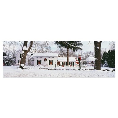 Michigan, Ada, Home decorated for Christmas Poster