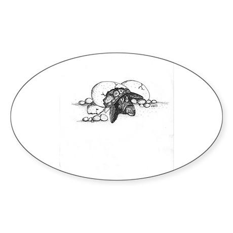 Turtle Shell Oval Sticker