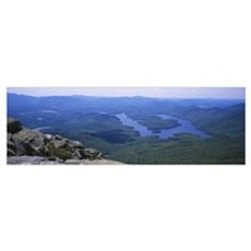 High angle view of a lake, Lake Placid, Adirondack Poster