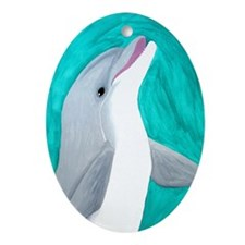 Laughing Dolphin Oval Ornament