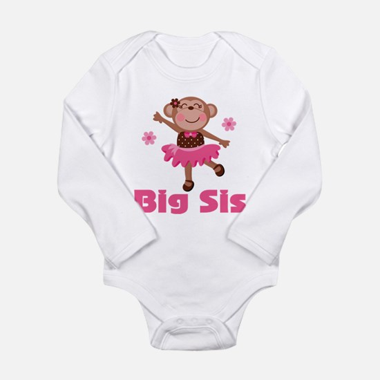 Big Sister Monkey Long Sleeve Infant Bodysuit