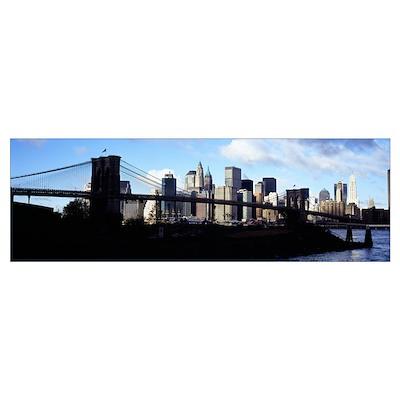 Skyscrapers at the waterfront, Brooklyn Bridge, Ea Poster