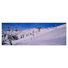 Tourists skiing on snow, Rendl, St. Anton, Austria Poster