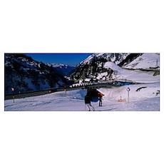 Tourists skiing on snow, Stuben, Austria Poster