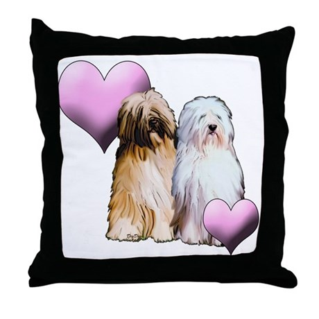 Tibetan Terriers with Heart Throw Pillow
