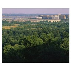 High angle view of trees around a government build Poster
