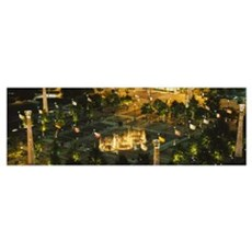 High angle view of fountains in a park lit up at n Poster