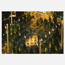 High angle view of fountains in a park lit up at n