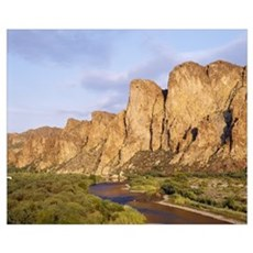 Rock formations in front of a river, Salt River, P Poster