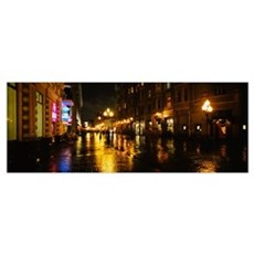 Street lit up at night, Arbat Street, Moscow, Russ Framed Print