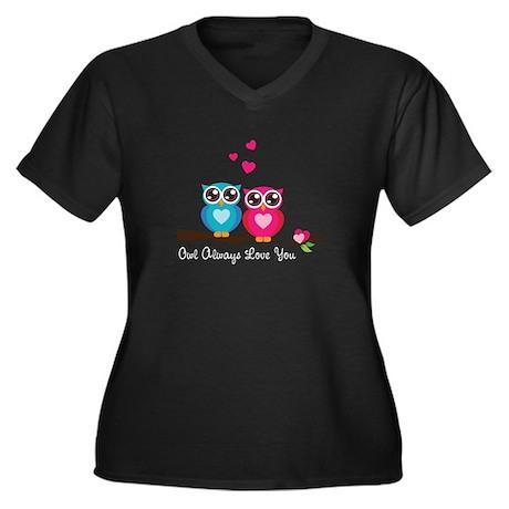 Owl Always Love You Women's Plus Size V-Neck Dark