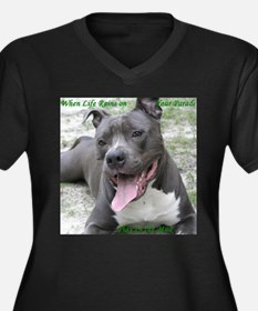 Cute Amstaff Women's Plus Size V-Neck Dark T-Shirt