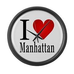 I Love Manhattan Large Wall Clock