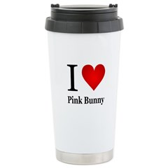 I Love Pink Bunny Travel Mug