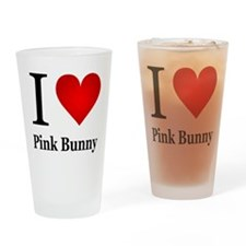 I Love Pink Bunny Drinking Glass