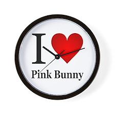 I Love Pink Bunny Wall Clock