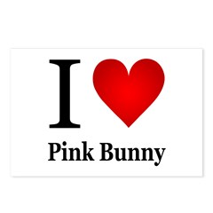 I Love Pink Bunny Postcards (Package of 8)