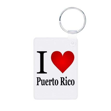 I Love Puerto Rico Aluminum Photo Keychain