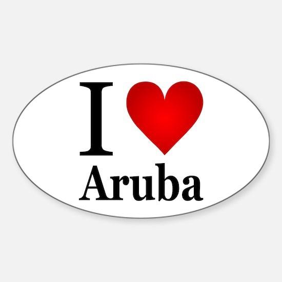 I Love Aruba Sticker (Oval)