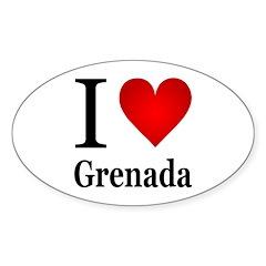 I Love Grenada Sticker (Oval)