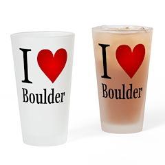 I Love Boulder Drinking Glass