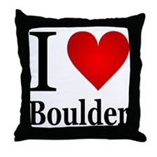 I Love Boulder Throw Pillow