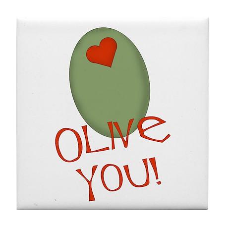 Olive You! Tile Coaster