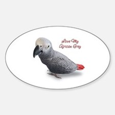 African Grey Parrot Gifts Sticker (Oval)