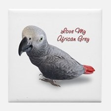 African Grey Parrot Gifts Tile Coaster