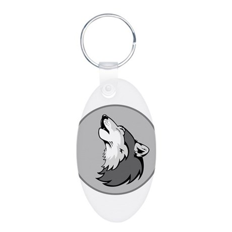 Wolf in Shades of Gray. Aluminum Oval Keychain